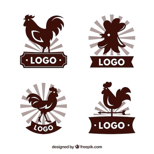 Set von großen logos mit hahn silhouetten Kostenlosen Vektoren
