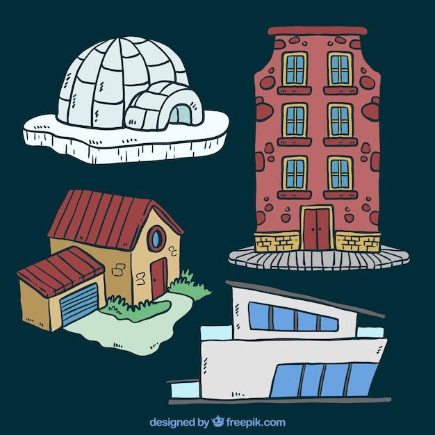 Set von häusern in verschiedenen stilen Kostenlosen Vektoren