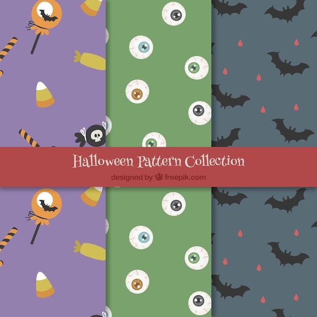 Set von halloween-mustern mit elementen Kostenlosen Vektoren