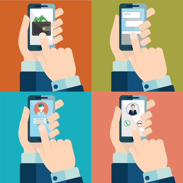 Set von Hand berühren Smartphone-Bildschirm Kostenlose Vektoren
