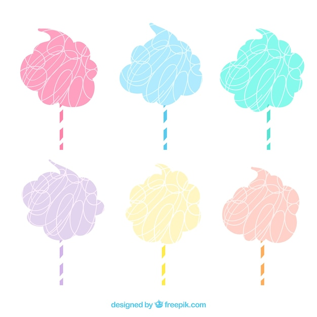 Set von hand farbigen süßigkeiten cottons Kostenlosen Vektoren