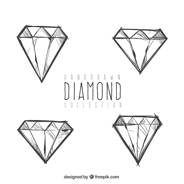 Diamantring gezeichnet  Set von Hand gezeichnet Diamanten | Download der kostenlosen Vektor