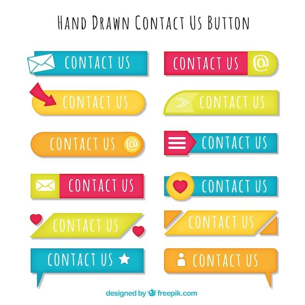 Set von hand gezeichnet kontaktknöpfe Kostenlosen Vektoren