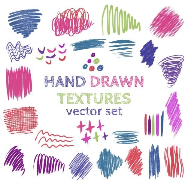 Set von hand gezeichnet kritzeln texturen sammlung von pinsel strokescolor flecken Kostenlosen Vektoren