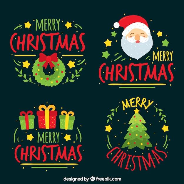 Set von hand gezeichneten weihnachtsaufkleber Kostenlosen Vektoren