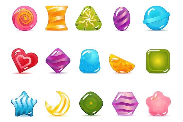 Set von hard cadies, lollipop und jelly icons Premium Vektoren