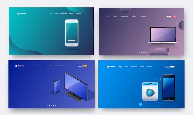 Set von heldenschüssen mit futurstic gadgets. Premium Vektoren