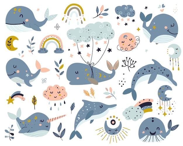 Set von himmelswalen, delfinen und narwalen Premium Vektoren