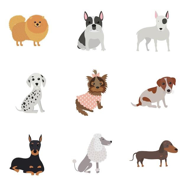 Set von hunden verschiedener rassen Premium Vektoren