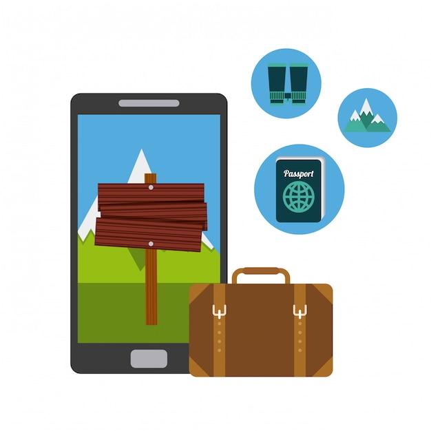 Set von icons für die reiseausrüstung Premium Vektoren