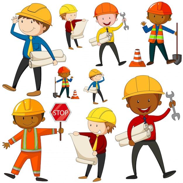 Set von ingenieuren und bauarbeiter illustration Kostenlosen Vektoren