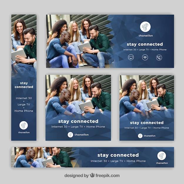 Set von Internet- und Telefonie-Bannern Kostenlose Vektoren