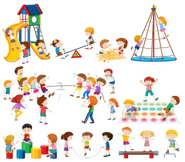 Set von kindern am spielplatz Premium Vektoren