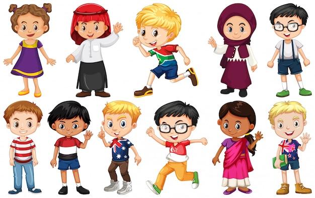Set von kindern aus verschiedenen ländern Kostenlosen Vektoren