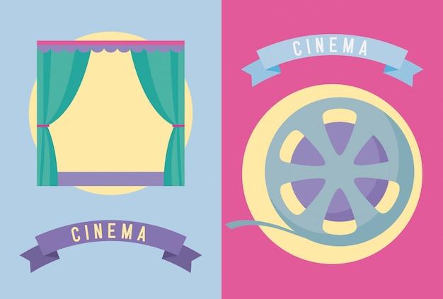 Set von kinofilmen Premium Vektoren