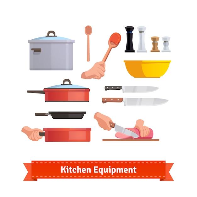 Set von kochgeräten Kostenlosen Vektoren
