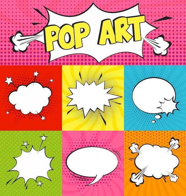 Set von komischen Sprechblasen im Pop-Art-Stil Kostenlose Vektoren