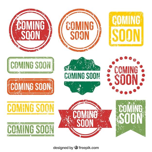 Set von kommenden briefmarken mit verschiedenen designs Kostenlosen Vektoren