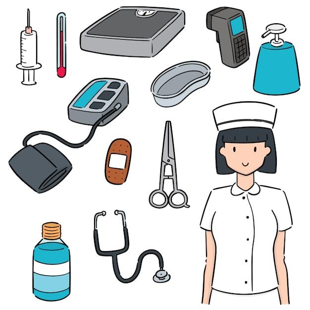 Set von krankenschwester und medizinischer ausrüstung Premium Vektoren