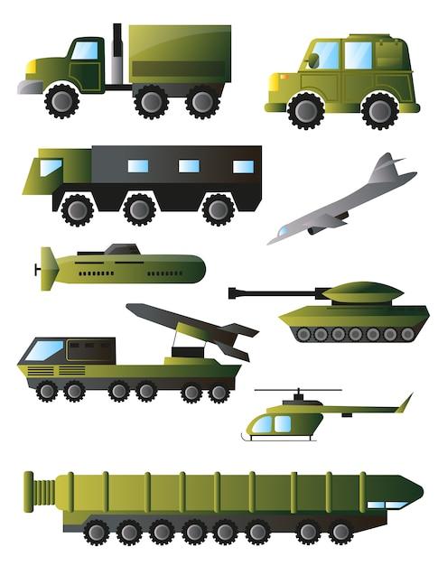 Set von kriegsmaschinen, panzern und ausrüstung in grünen farben Premium Vektoren