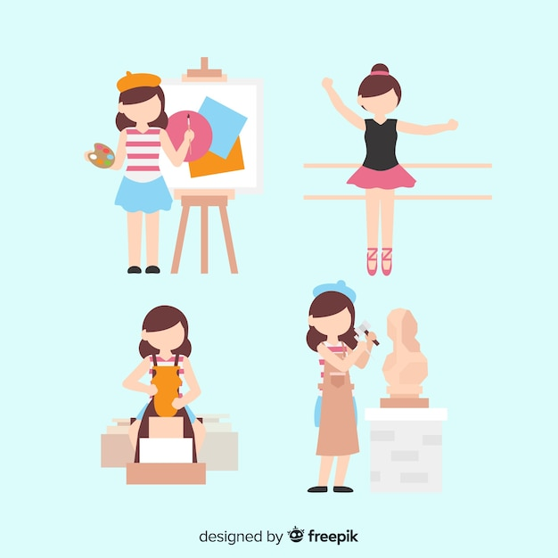 Set von künstlern aus verschiedenen disziplinen. malerin, tänzerin, kunsthandwerkerin und bildhauerin Kostenlosen Vektoren