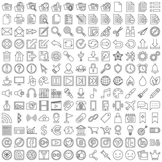 Set von linearen Icons für Web Kostenlose Vektoren