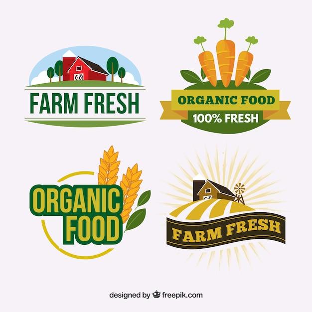 Set von logos für bio-lebensmittel-unternehmen Kostenlosen Vektoren