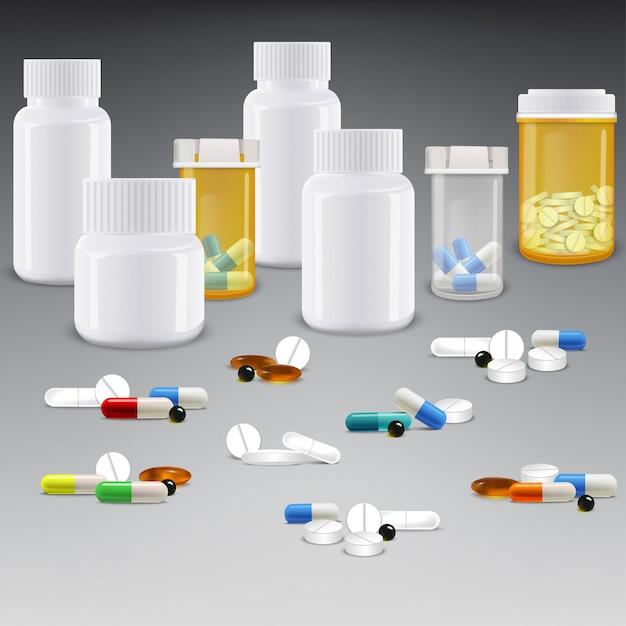 Set von medizinflaschen mit drogen und pillen Premium Vektoren
