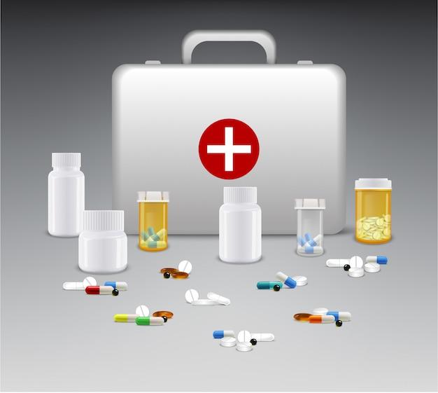 Set von medizinflaschen mit pillen und erste-hilfe-kasten Premium Vektoren