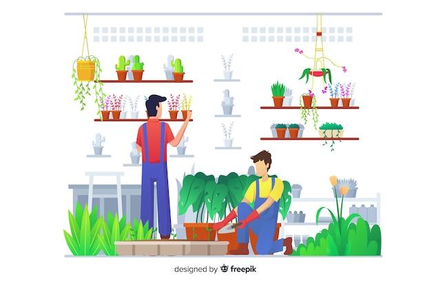 Set von menschen, die sich um pflanzen kümmern Kostenlosen Vektoren