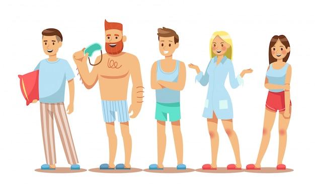 Set von menschen zeichen pyjamas tragen Premium Vektoren