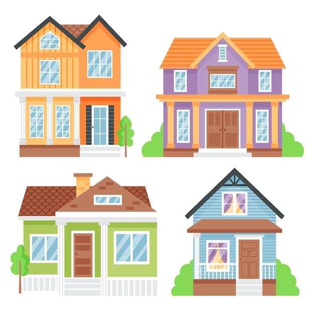 Set von minimal verschiedenen häusern Kostenlosen Vektoren