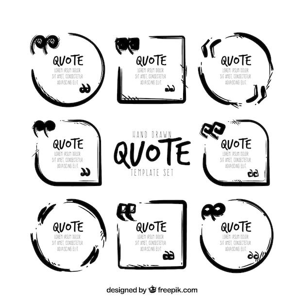 Set von modernen Zitat-Vorlage in schwarz und weiß Kostenlose Vektoren