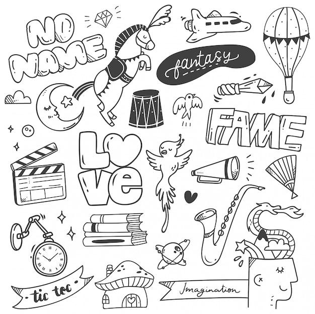 Set von niedlichen doodle für druck und muster Premium Vektoren