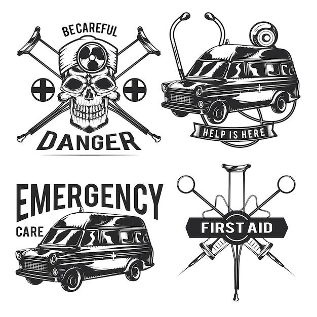 Set von notfall-emblemen, etiketten, abzeichen, logos. Kostenlosen Vektoren