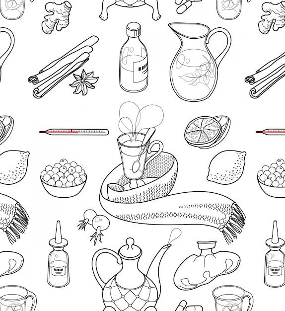 Set von objekten und kräutern, um erkältungen zu behandeln. Kostenlosen Vektoren