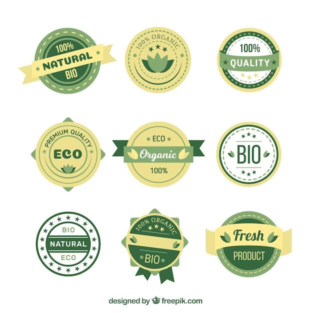 Set von öko-aufkleber produkt Kostenlosen Vektoren