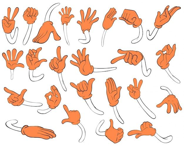 Set von orangefarbenen händen Kostenlosen Vektoren