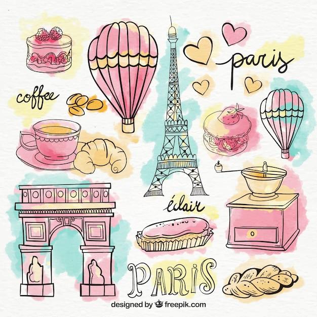 Set von Paris Elemente in den Aquarellen Kostenlose Vektoren