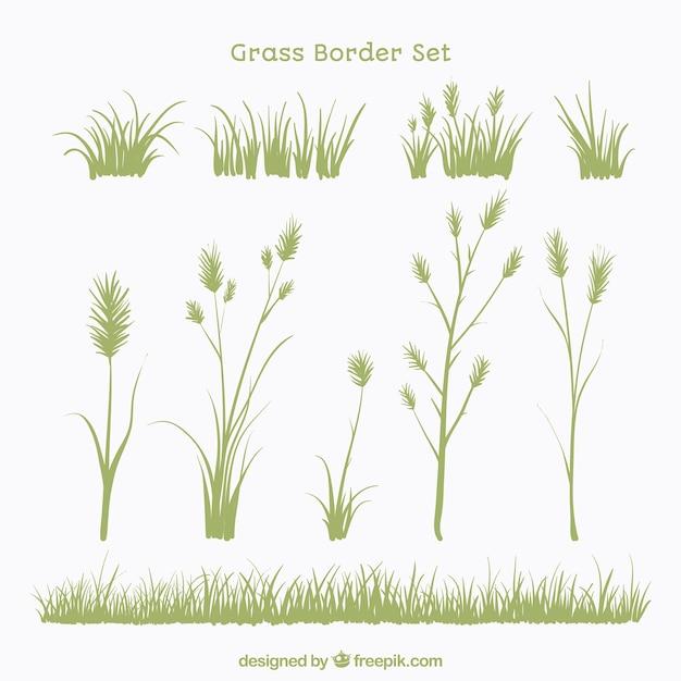 Set von pflanzen und gras grenzen Kostenlosen Vektoren