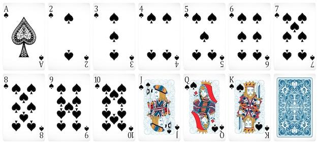 Set von poker-karten mit front- und rücken-design Kostenlosen Vektoren