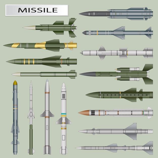 Set von raketen und ballistischen raketengefechtskopf isoliert Premium Vektoren