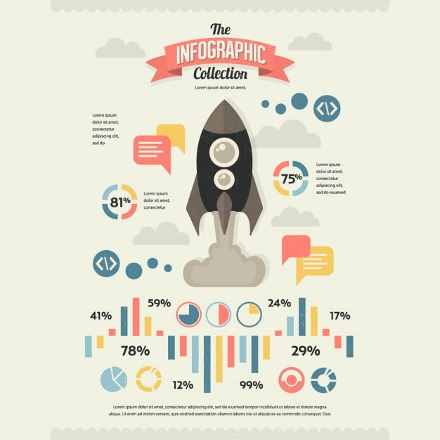 Set von retro vintage infographic elemente Kostenlosen Vektoren
