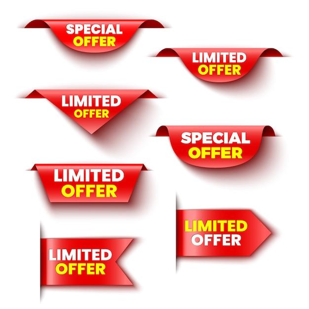 Set von roten verkaufsbannern mit sonderangebot und begrenztem angebot. aufkleber. Premium Vektoren