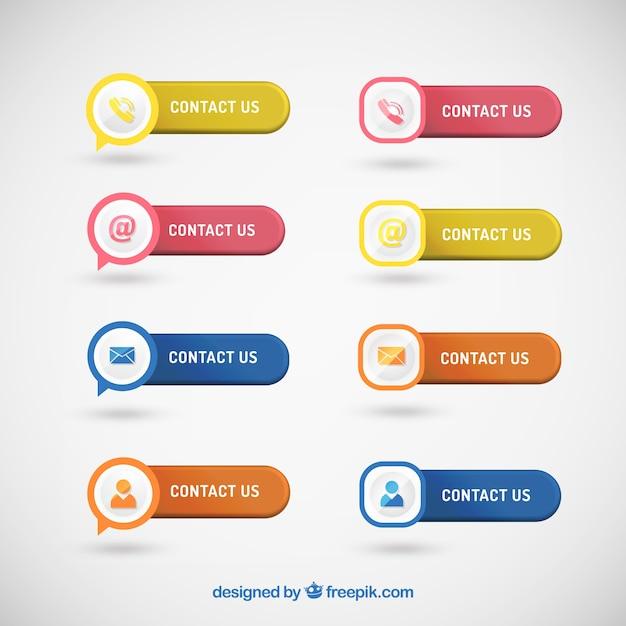 Set von schaltflächen mit kontaktsymbolen Kostenlosen Vektoren