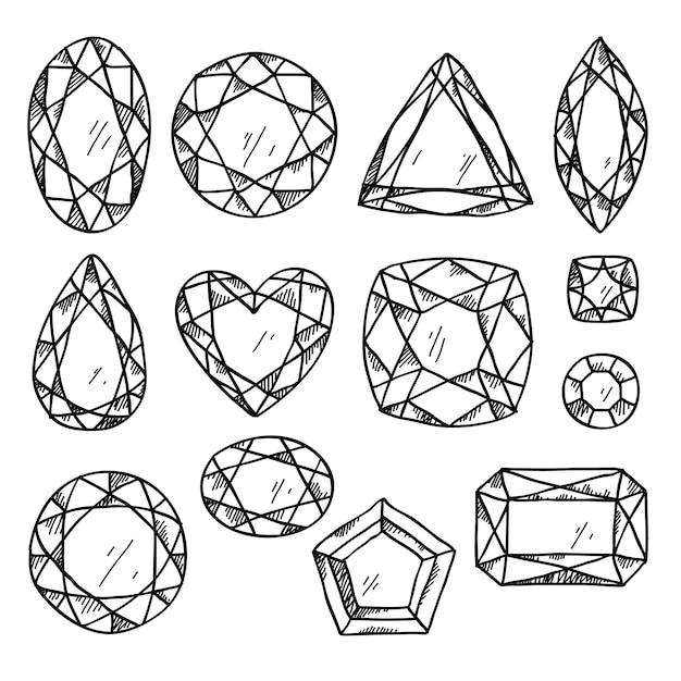 Set von schwarzen und weißen juwelen. Premium Vektoren