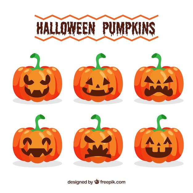 Set von sechs Ausdrücken von Kürbis für Halloween | Download der ...