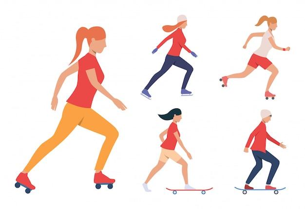 Set von skating-aktivitäten. mädchen und kerl skateboarding Kostenlosen Vektoren