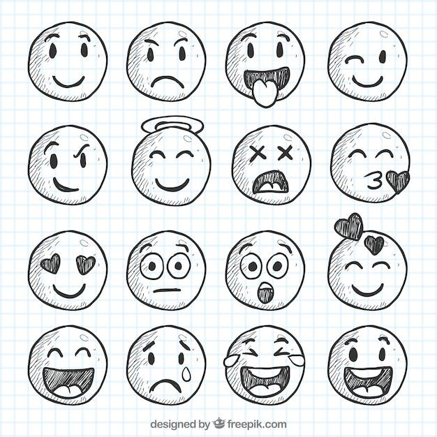 Set von smileys skizzen Kostenlosen Vektoren