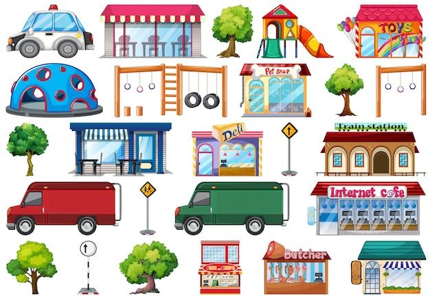 Set von stadtobjekten Kostenlosen Vektoren